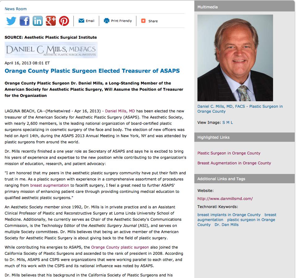 Orange County Plastic Surgeon Elected Treasurer Of Asaps