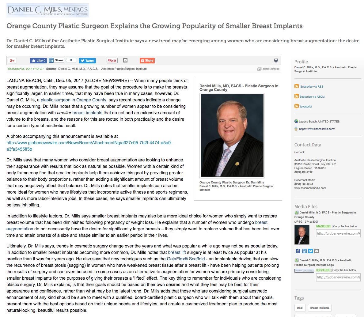 Orange County Plastic Surgeon On Popularity Of Smaller Breast Implants